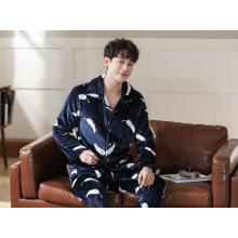 Mens Flannel Autumn Winter Warm Nightwear Pajamas Set