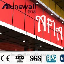 Panel compuesto de aluminio brillante rojo ignífugo Alunewall ACP en el revestimiento de la pared