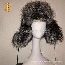 2015 Inverno Moda de alta qualidade Genuine Silver Fox Fur Earflat Estilo Russo Fur Hat