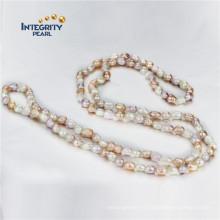 Colliers de perles baroques AA 7-8mm 47 pouces Collier de perles de Chine
