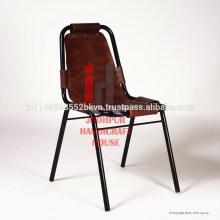 Chaise de salle à manger en cuir et métal en métal industriel