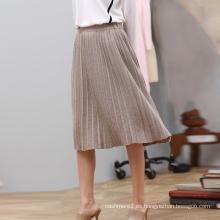 Falda plisada del último diseño de la falda de la cachemira del invierno del otoño señoras con estilo Una línea que hace punto faldas