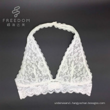 Bra factory wholesale and customize size color fabric hot sale high quality lace plunge halter bralette, sexy fancy bra panty se