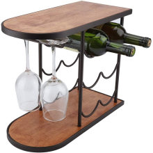 Dual use 3-Tier Stackable Rustic Wood Countertop Red Wine Shelf 6 Bottles Red Wine Rack Shelf Stand with Glass Cups hanger