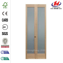 24 in. x 80 in. Full Frosted Glass Pine Interior Bi-Fold Door
