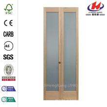 24 дюйма х 80 дюймов. Полная стеклянная сосновая внутренняя двустворчатая дверь