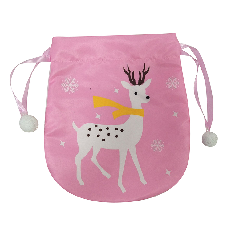 Portable Pink Christmas Printed Gift Bag