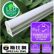 Lâmpada de tubo de emergência LED T5: 16W / 1.2m, 13W / 0.9m, 9W / 0.6m recarregável com bateria de reserva