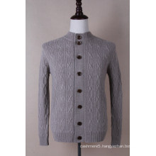 Men′s Round Neck Cashmere Cardigan