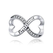 Infinity Symbol 925 Sterling Silver CZ Charm for Bracelet