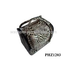trousse de maquillage professionnelle en cuir avec des plateaux amovibles à and4 motif léopard à l'intérieur du fabricant