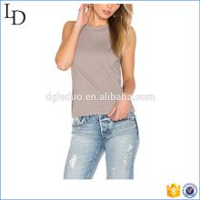 Бамбуковые волокна пользовательские открытой спиной, круглым вырезом женщины T рубашка