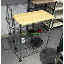 Wholesales Preço Hygienic 3 Tierchrome cesta cesta de cozinha com rodas de nylon