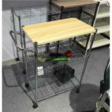 Оптовые цены Гигиеническая 3-х уровневая кухонная стойка с нейлоновыми колесами