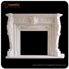 Fournisseur chinois sculpté à la main en marbre blanc cheminée en pierre