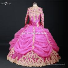 RSW735 Rosa e ouro manga comprida alto pescoço Dubai muçulmano vestido de casamento Hijab