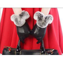Mode Frauen Winter Kaninchen Pelz gefüttert Leder Handschuhe
