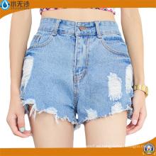 Pantalones cortos de los pantalones vaqueros del dril de algodón de las señoras Shorts