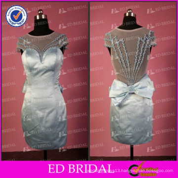 ED Bridal Elegant Real Picture Sheath Cap Sleeve See Through Back Beaded Satin Material With Bow Sash Short Style Evening Dress