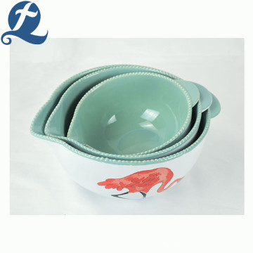 Custom high quality fashion popular printed ceramic bead pointed mouth bowl