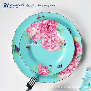 light blue pink floral pattern royal porcelain dinnerware grace ceramic dinnerware