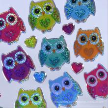 Пользовательские декоративные сова цвет пластиковая наклейка