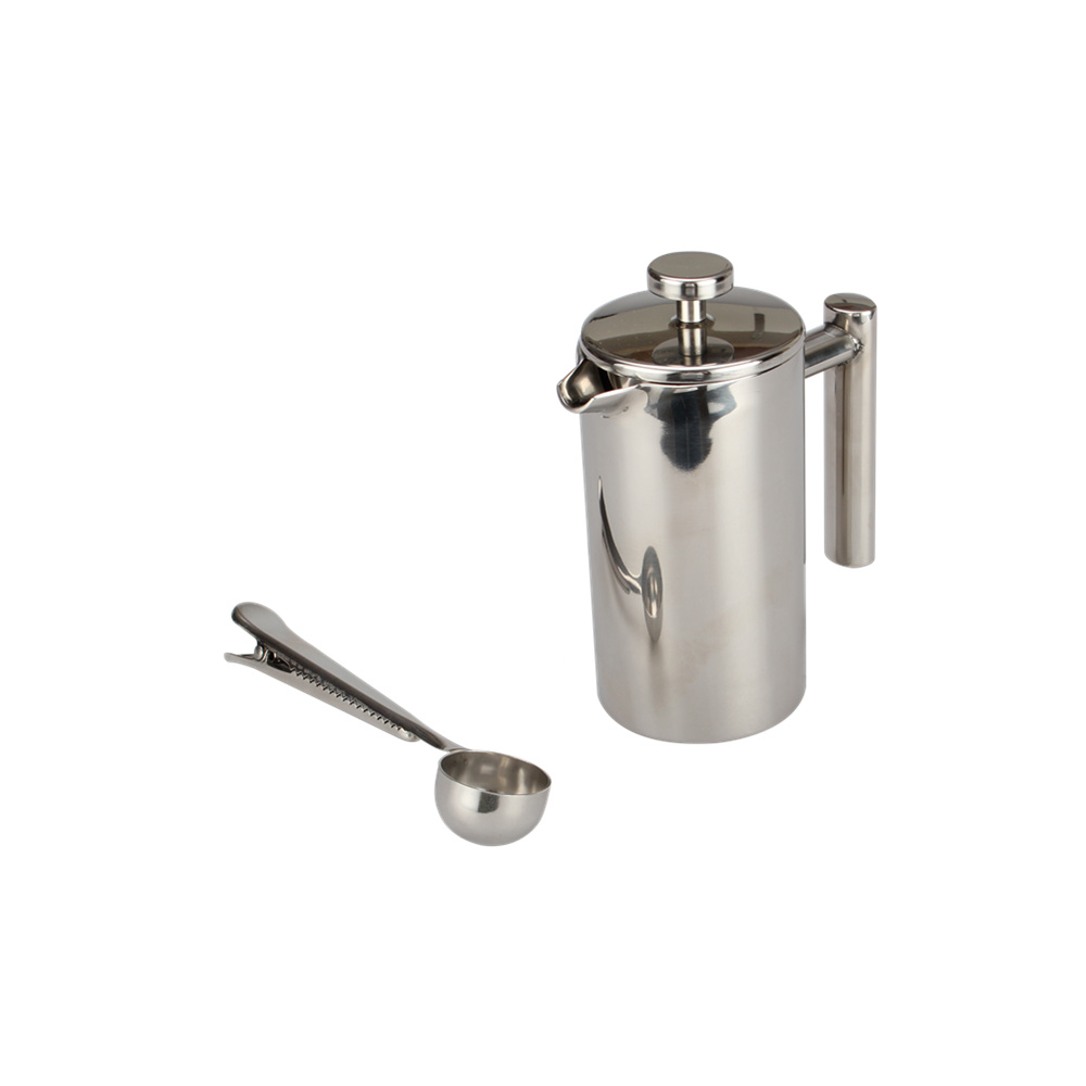 Silver Double Wall French Press With Coffee Scoop Wit Bag Clip