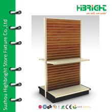 supermarket gondola shelf with MDF back panels