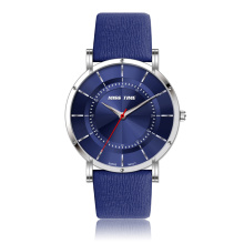 fashion soft genuine leather strap stainless steel case watch