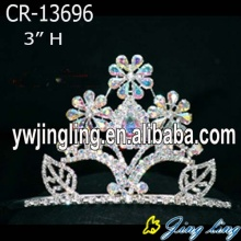 Venta al por mayor de la serie AB Rhinestone Flower Pageant Crown