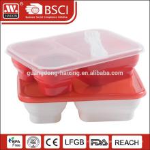 récipient de nourriture de boîte repas en plastique avec trois compartiments