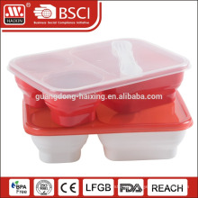 plastic lunch box food container with three compartments
