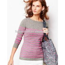 Мода леди вязаный пуловер с фиолетовым печатные полосы