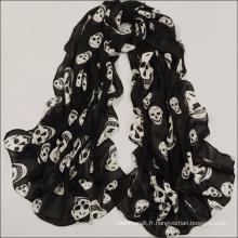 Écharpe châle imprimée longue en crâne de soie Beach Voile (SW107)