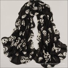 Womens Beach Voile Soft Long Skull Printed Wrap Shawl Scarf (SW107)