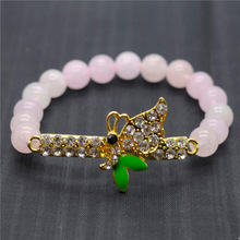 Rose Quartz 8MM Round Beads Stretch Gemstone Bracelet with Diamante Butterfly Piece