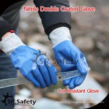 SRSAFETY 13G трикотажные прорезиненные нитриловые перчатки / устойчивые к истиранию нитриловые перчатки
