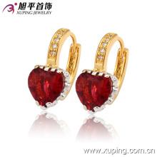La más nueva moda Fancy CZ cristal en forma de corazón joyería multicolor pendiente del aro para las mujeres - 27887