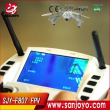 2015 nuevos aviones no tripulados RC F807 VS H107D Quadcoter pantalla LCD 4CH 2.4G Gyro FPV helicóptero UFO sin cabeza con cámara HD / FPV