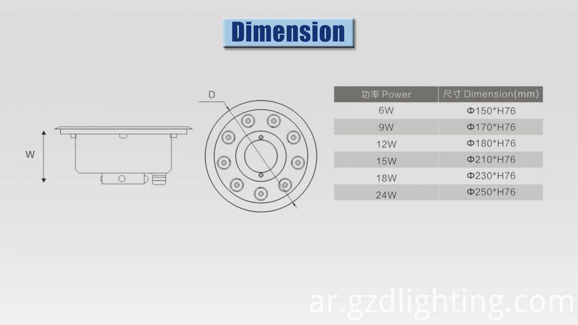 led underwater light dimension