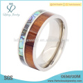 Titanium mens paua shell and wood ring,fashion silver titanium rings