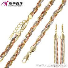 Moda Três -Stone Alloy Jewelry Set com corrente, pulseira e brinco -62987