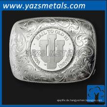 fertigen Sie Metallgürtelschnallen besonders an, kundenspezifische Qualitätssilberfarbengürtelschnallen