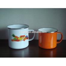 450ml Colorful Customized Enamel Mug With Stainless Steel Rim  450ml Colorful Customized Enamel Mug With Stainless Steel Rim