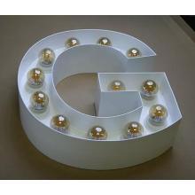 Marquesina de publicidad personalizada carta luces con bombilla LED de luz de pared