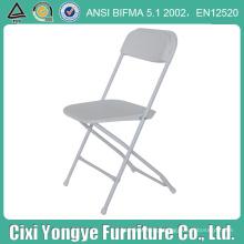 Cadeira de dobradura plástica do assento comercial branco com armação do metal