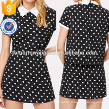 Contrast Collar Polka Dot Top & Skirt Set Manufacture Wholesale Fashion Women Apparel (TA4049SS)