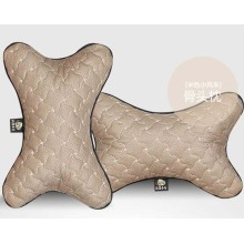 Car Headrest Neck Pillow Bone Shape Windmill Pattern-Beige