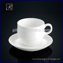 Porcelain withe stackable coffee cup with saucer airport use