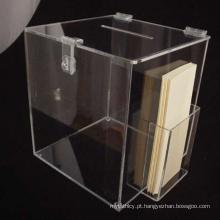 Caixa de cédula de acrílico feita sob medida com suporte de balcão lateral